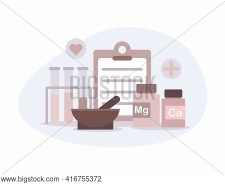 Flat Medicine Bottles. Vitamin Bottle With Natural Herbal Pills. Drugs, Tablet Capsules And Prescrip