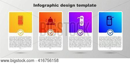 Set Refrigerator, Hotel Service Bell, Door Handle And Digital Door Lock. Business Infographic Templa