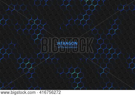 Hexagonal Background. Bright Blue Neon Flashes Under The Hexagon In The Lighting Technique. Dark Hon