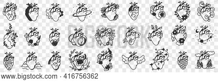 Human Hearts Assortment Doodle Set. Collection Of Hand Drawn Various Styles Of Heart For Healthcare