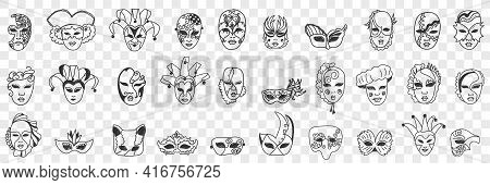 Carnival Masks Assortment Doodle Set. Collection Of Hand Drawn Various Styles Of Decorative Face Mas