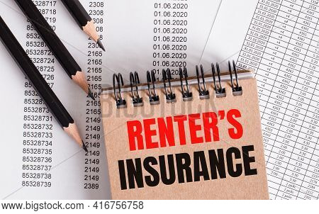 The Words Renter Is Insurance Is Written On The Brown Notebook. Nearby Pencils