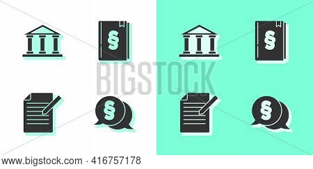 Set Law, Courthouse Building, Document And Pen And Book Icon. Vector