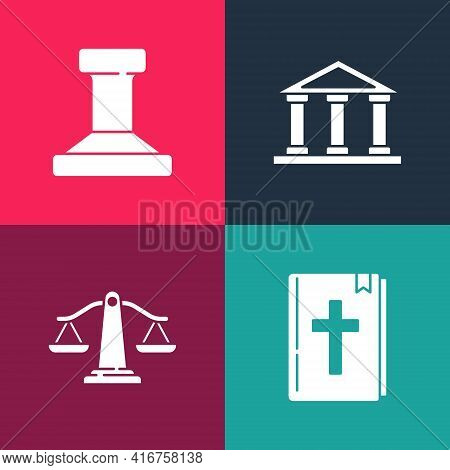 Set Pop Art Holy Bible Book, Scales Of Justice, Courthouse Building And Stamp Icon. Vector