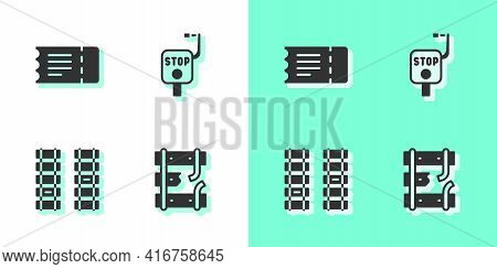 Set Broken Rails On A Railway, Train Ticket, Railway, Railroad Track And Emergency Brake Icon. Vecto