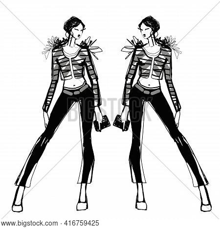 Sketch Of A Young Beautiful Girl With Fashionable Pants And A Sweater. Fashionable Clothes For Forma