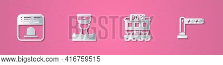 Set Paper Cut Ticket Office To Buy Tickets, Train Conductor, Restaurant Train And Railway Barrier Ic