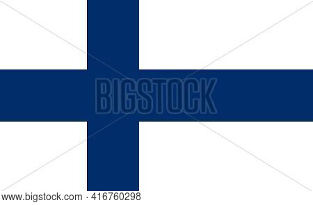 Official National Flag Of Finland. Flag Of The Republic Of Finland With Correct Proportions And Colo