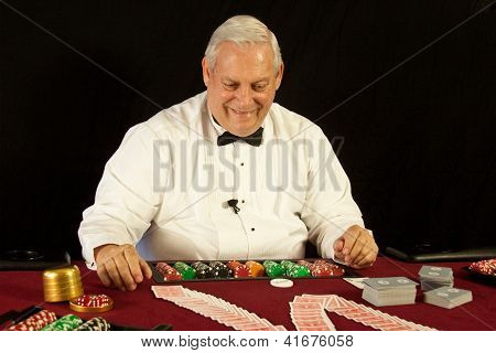 Casino Dealer with Cards