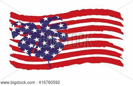A Tropical Leaf Decorated With Stars On The Usa Flag. Vector Illustration