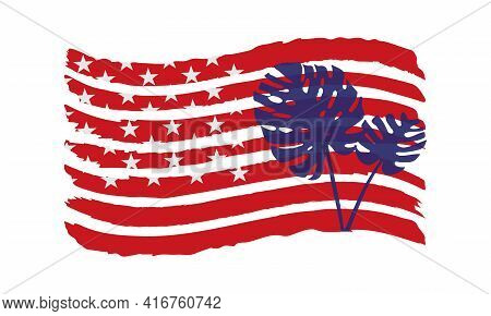 Vector Illustration With Silhouettes Of Tropical Leaves On The Usa Flag