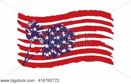 Vector Illustration Of Usa Flag With Decorative Tropical Leaves