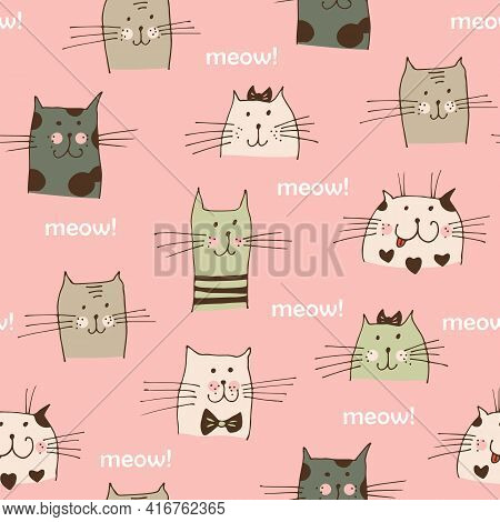 Cat Faces Vector Seamless Pattern, Hand Drawn Cats With Text Meow Isolated On Pink Background