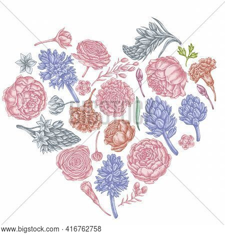 Heart Floral Design With Pastel Peony, Carnation, Ranunculus, Wax Flower, Ornithogalum, Hyacinth Sto
