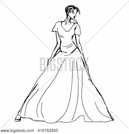 Fashion Models In The Dress Sketch. Drawn Long Dress. Black And White Vector Illustration