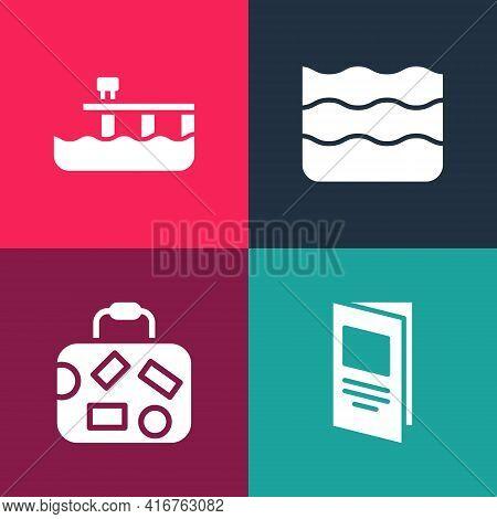 Set Pop Art Brochure, Suitcase, Wave And Beach Pier Dock Icon. Vector