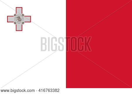 Official Flag Of Republic Of Malta With Correct Proportions And Colors. White And Red Vertical Strip