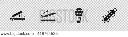 Set Passenger Ladder, Plane Takeoff, Hot Air Balloon And Rocket Icon. Vector