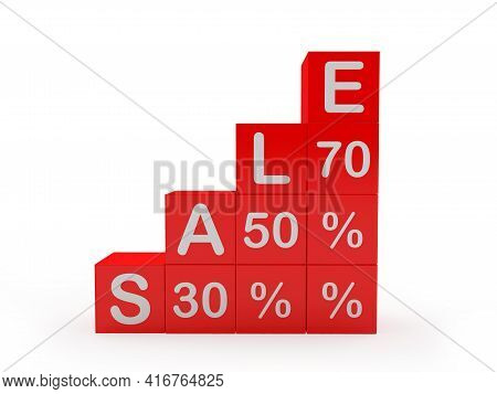 Stairs Or Graph From Red Cubes With The Text Sale Thirty And Fifty And Seventy Percent. 3d Illustrat