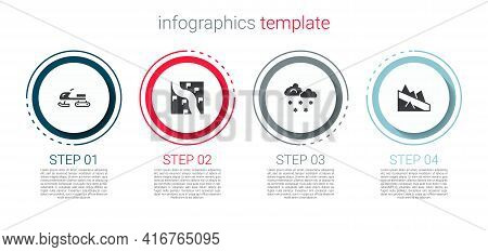 Set Snowmobile, Route Location, Cloud With Snow And Mountain Descent. Business Infographic Template.