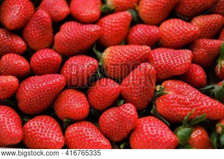 Strawberry Berries Background.summer Berries. Strawberry Harvest.berry Wallpaper.organic Natural Far