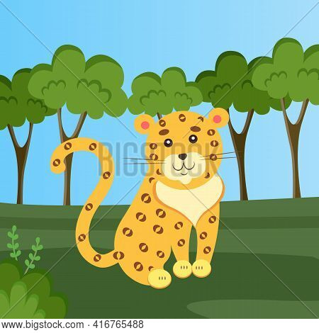 Feline With Fluffy Hair And Dark Spots Sitting In Meadow. Leopard Is Resting In Clearing In Forest