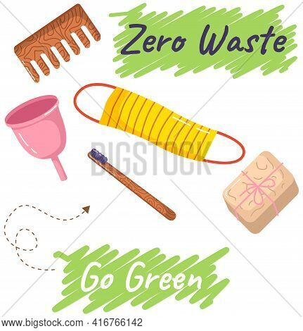 Zero Waste Reusable Personal Hygiene Products Toothbrush, Comb, Sponge For Body, Menstrual Cup