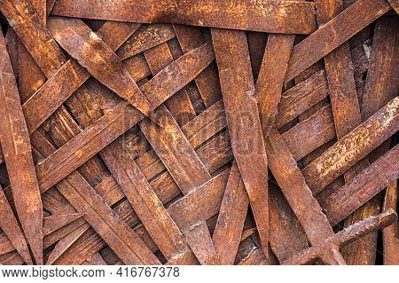 Blades Of Rusty Swords, A Background Of A Large Number Of Vintage, Deformed Blades Of Swords, Erosio