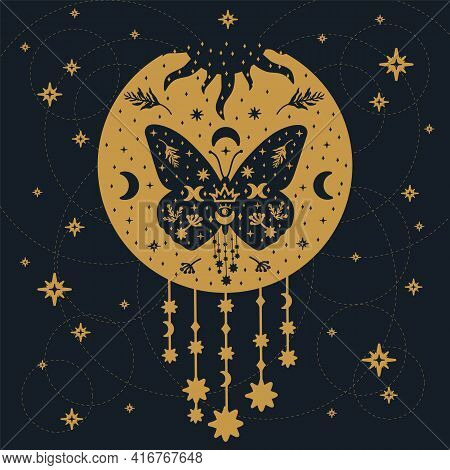 A Golden Butterfly On A Black Background. A Poster With Fluttering Insects In The Form Of Dream Catc