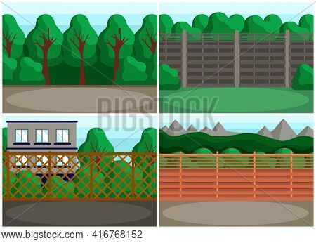 Set Of Illustrations About Landscape Design Of Places For Recreation And Events. Trees Behind Fences