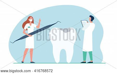 Dentists Examining And Treating Huge Tooth. Dental Checkup Flat Vector Illustration. Dental Clinic,