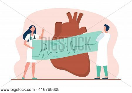 Cardiologists With Ecg Graph Examining Heart. Medical Checkup Flat Vector Illustration. Cardiology,