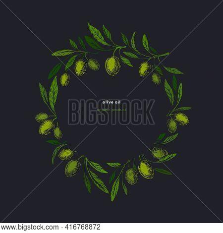Olive Kotinos. Vintage Wreath, Vector Ancient Symbol. Art Illustration. Fresh Fruit, Green Foliage,