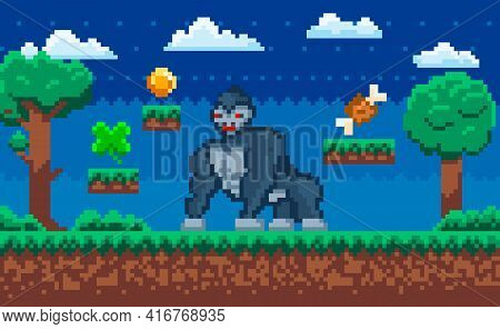 Vector Pixelated Gorilla, Cartoon Pixel Wild Animal In Natural Landscape With Trees At Night