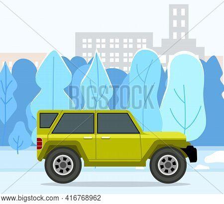 Modern Car Parking Along Town Street In Cartoon Style. Vehicles Car On City Street