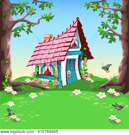 Small Fairy Tale House With A Pink Roof And Hearts Stands On A Flower Meadow In The Forest. Fairy Ta