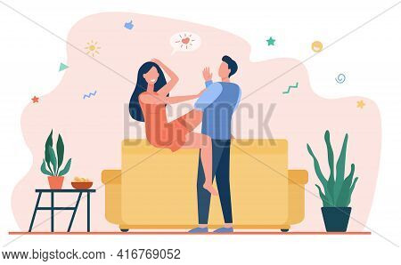 Happy Couple Chatting And Flirting In Living Room. Woman On Sofa Flirting With Boyfriend Flat Vector