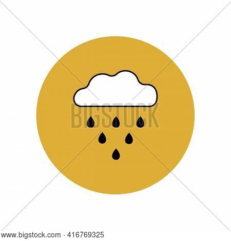 Cloud And Rain Icon With Black Outline In Yellow Circle. Weather Forecast. Meteorological Software.