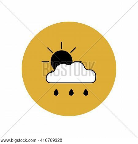Cloud, Sun, Rain Icon In Yellow Circle. Weather Forecast For Cloudy And Rainy Weather. Meteorologica