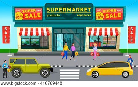 Automobiles On Background Of Supermarket With Groceries. Crossover, Cross Country Car, Station Wagon