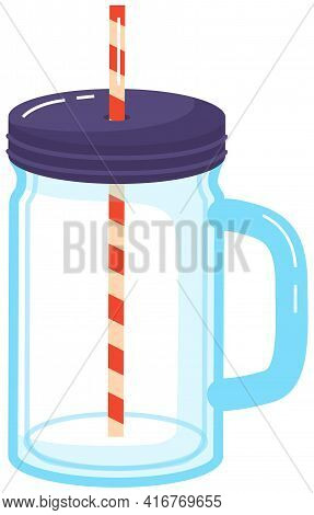 Reusable Cup, Tumbler Or Mug With Straw Isolated On White. Glass Container For Take Away Cocktail