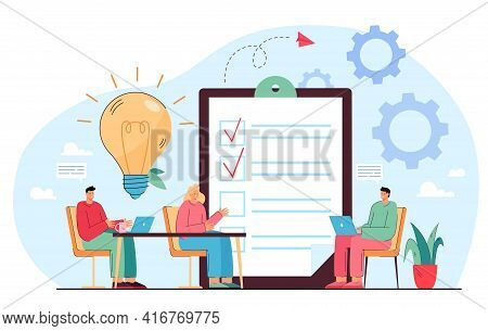 Business Team Sharing Ideas At Meeting. Office People Discussing Work At Desks Flat Vector Illustrat