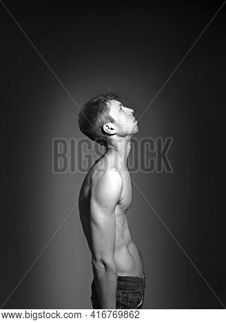 Man With Impaired Posture Position Defect Scoliosis And Slouch.