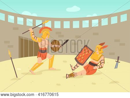 Two Roman Armored Warriors Fighting With Swords On Arena. Cartoon Vector Illustration. Gladiator Fig