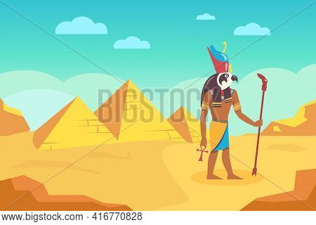 Egyptian God With Walking Stick Surrounded By Ancient Pyramids. Cartoon Vector Illustration. Egyptia