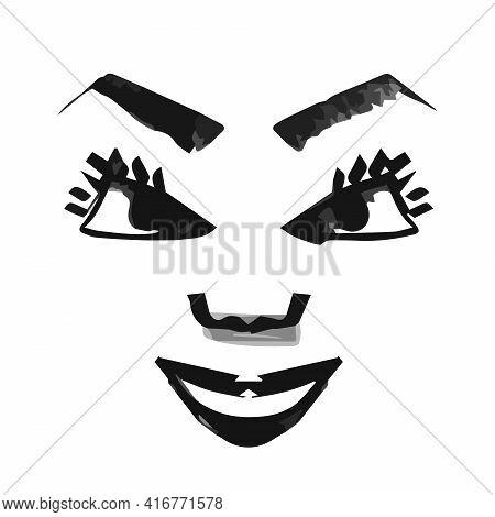 Gloat Chalk On White Icon. Evil Smile. Bad Attitude. Vicious Smirk. Scary Person. Negative Feeling.
