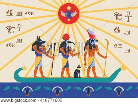 Egyptian Deities Or Gods Sailing Papyrus Or Reed Boat Bas Relief. Cartoon Vector Illustration. Egypt