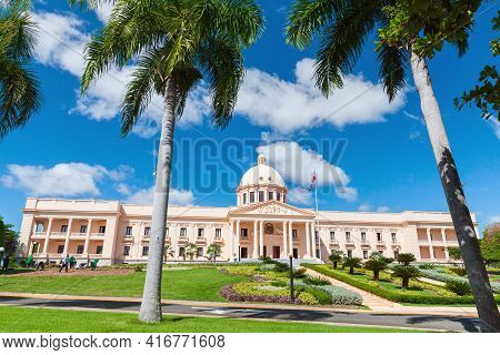 Santo Domingo, Dominican Republic - January 11, 2017: The National Palace On A Sunny Day