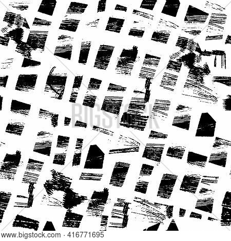 Vector Seamless Pattern With Brush Stripes And Strokes. Black Color On White Background. Hand Painte