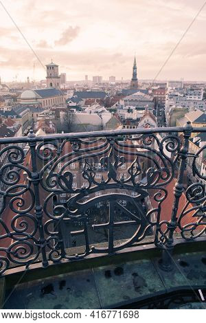 Copenhagen, Denmark - December 10, 2017: Forged Fence Of The Rundetaarn, Or Round Tower, It Is A 17t